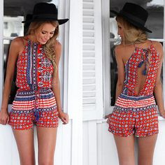 Buy New 2015 Jumpsuit Women Sexy Sleeveless Boho Backless Beach Playsuits Summer Jumpsuits Rompers Macacao Ropa Mujer Red at Cute - Beauty Shopping Romper Floral, Red Romper, Playsuit, Boho Romper, Floral Jumpsuit, Backless Mini Dress, Backless Jumpsuit, Jumpsuit Shorts, Short Jumpsuit