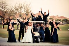 Fun golf course bridal party shot. Palm Beach Wedding. To start planning the day of your dreams, visit www.frenchmansreservecc.com/weddings  Photo courtesy of Palm Beach Photography