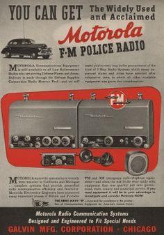 Motorola FM two-way police radio advertisement, USA, 1943.  Motorolasolutions.com