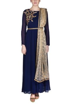 Look Stunning in this exquisite Navy Blue Anarkali Gown with Dupatta. Shop for Indian, Western, Indo-Western Fashion Designer Dresses and dress to kill for any occasion - Sangeet, Receptions, Weddings or Cocktails.