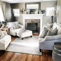 56 Relaxing Small Living Room Decor Ideas With Fireplace - Living Room - . - 56 Relaxing Small Living Room Decor Ideas With Fireplace - Living Room Decor Fireplace, Small Living Room Furniture, Living Room Furniture Arrangement, Small Living Rooms, Home Living Room, Arrange Furniture, Modern Living, Fireplace Ideas, Small Living Room Layout