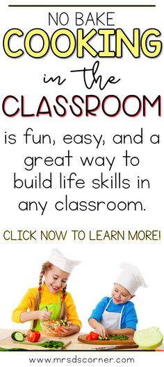 """Cooking in the Classroom with Mrs. D's Corner. Video post with a sneak peak at my classroom """"kitchen"""", how I make it work in my special education classroom, how and when we cook in the classroom with delicious no bake recipes, and other food related fun stuff your students are sure to love too! Only at Mrs. D's Corner."""
