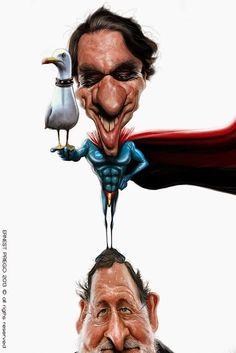 """ERNESTO PRIEGO. Caricatura partidista: El arte menor que forma este retrato de Rajoy (presidente actual de España del partido popular) y Jose Maria Aznar su antecesor, alega satíricamente lasituación actual de la """"caricatura"""" en España."""
