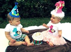 Mod Monkey Birthday Twin Set Short Sleeve by TheSassySquirrel, $33.00