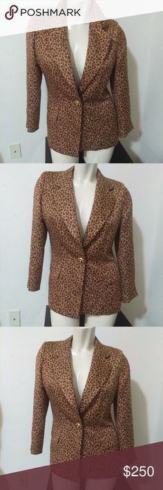 Vintage 80s ESCADA Blazer Wool & Silk blazer Women Margaretha Ley Luxury designer shoulder padded blazer made of a silk & wool leopard print fabric with sparkly gold lurex running throughout.  Made in Germany. Size: Germany 36 / US 8. This blazer never cease to call attention when won. In Pristine condition. Classic! Escada Jackets & Coats Blazers