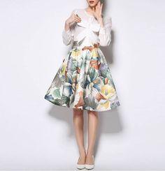Vintage High Waist Floral Print Ball Gown Skirt For Women c5bac03ac6e7