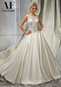 wedding gown from AF Couture by Mori Lee Dress Style 1307 Intricately Beaded Embroidery on a Duchess Satin Bridal Gown