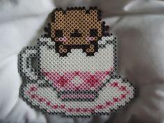 Tea Cup Kitty perler bead by *TsukiHimeChii on deviantART
