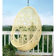 Similar in shape to the Anthropologie hanging chair, this Flower Pod Chair… Hammock Swing Chair, Swinging Chair, Porch Swing, Swing Chairs, Hanging Chairs, Wicker Swing, Front Porch, Swing Beds, Pet Hammock