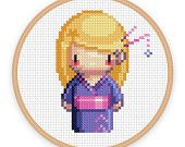 GEISHA GIRL MAI: a pixel art counted cross stitch pattern - digital download - printable pdf file