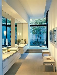 Love the sleek modern sinks [ Sliding-doors-hardware.com ] #bathroom #hardware #slidingdoor