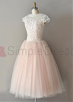 Buy Simple Dress Vintage Lace Scoop Capped Tulle Prom Dresses/Homecoming Dresses/Party Dresses LAPD-7179 Formal Dresses under $142.99 only in SimpleDress.