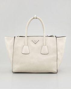Prada Glace Calf Twin Pocket Tote Bag, Off White (Ghiaccio) - ShopStyle Olivia Pope Style, Scandal Fashion, White Handbag, Summer Bags, Prada Bag, Golf Bags, Calves, Satchel, Pocket