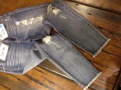 Frayed edges and destresed denim are going to be all the rage this fall! We will let everyone know when we have these in store!!