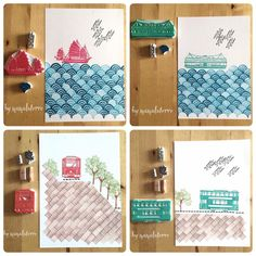 Cool layering and repetition Stamp Printing, Printing On Fabric, Screen Printing, Stencil, Eraser Stamp, Stamp Carving, Handmade Stamps, Fabric Stamping, Gravure
