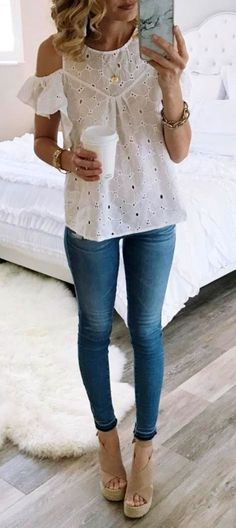 #summer #outfits White Eyelet Cold Shoulder Top + Skinny Jeans