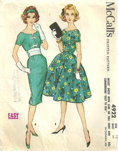 Mccalls 4922 Vintage 50s Sewing Pattern Dress Size 12