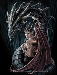 Magical Creatures, Fantasy Creatures, Medieval Tattoo, Dragon Born, Female Demons, Anne Stokes, Gaming Tattoo, Dragon Artwork, Gothic Fairy