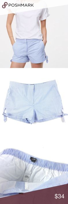 """LOFT Seersucker Shorts New (with tags!) LOFT Seersucker Shorts with adorable side tie bows and a 3.5"""" inseam in a size 12. Retail $54.50. LOFT Shorts"""