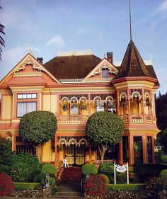 The Ring House, Ferndale, CA -- Built of North Coast redwood in 1899 for Dr. Hogan Ring, a Norwegian physician who immigrated to and then practiced for decades in the Victorian Village of Ferndale. The Ring House represents one of the most photographed of all West Coast Queen Anne Victorians. The 32-room, three-story mansion boasts a celebrated, formal and precision-manicured English Garden. In the 1980s, it was converted to the Gingerbread Mansion Bed and Breakfast.