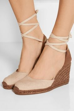 Wedge heel measures approximately 80mm/ 3 inches Beige canvas Ties at ankle Imported