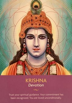 """March Daily Angel Oracle Card: Krishna ~ Devotion, from the Keepers Of The Light Oracle Card deck, by Kyle Gray, artwork by Lily Moses Krishna ~ Devotion: """"Trust your spiritual guidance. Your commi… Bhagavad Gita, Angel Guidance, Spiritual Guidance, Spiritual Images, Spiritual Connection, Deck Of Cards, Card Deck, Kyle Gray, Krishna Art"""