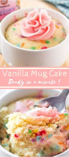 This easy vanilla mug cake is made in the microwave and ready in minutes! It's moist, with a delicious vanilla flavor and tons of sprinkles. This easy vanilla mug cake is made in the microwave and ready in minutes! It's moist, with a delicious vanill Microwave Mug Recipes, Mug Cake Microwave, Baking Recipes, Microwave Baking, Easy Microwave Desserts, Baking Desserts, Microwave Cookies, Vanilla Desserts, Easy Mug Cake
