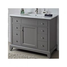Fairmont Designs 1504 V42 Smithfield Medium Gray Bathroom Vanity 42 X 21 1/  42 Inch Bathroom Vanity