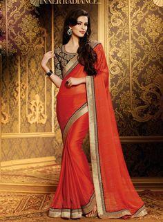 Orange latest designer jacquard saree with blouse E15150