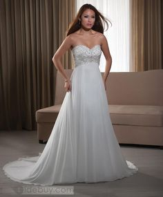Spectacular Empire Sweetheart Floor-length Chapel Beaded Wedding Dresses