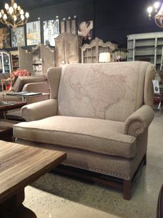 The Map Chair from Cornerstone Home Interiors $1295.00.  One of the many custom upholstery options from Cornerstone Home Interiors  www.cornerstonefurniture.ca