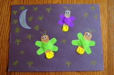 """Story time Tuesday """"The Very Lonely Firefly"""" with Craft needed Very Lonely Firefly book, construction paper, Band-Aids, chalk wiggly eyes. Eric Carle, Book Activities, Classroom Activities, Spring Activities, Fireflies Craft, Art For Kids, Crafts For Kids, Kid Art, Firefly Art"""