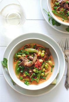 Roasted Red Pepper Coconut Soba Noodles with Vegetables / Bev Cooks