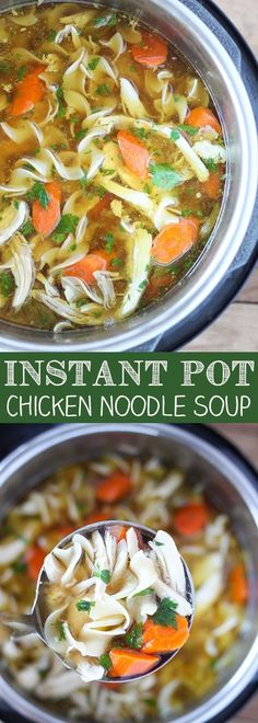Instant Pot Pressure Cooker Chicken Noodle Soup -Tender chunks of chicken in a rich homemade chicken broth with big hearty veggies. Chicken Noodle Soups, Instant Pot Chicken Noodle Soup Recipe, Chicken Breast Instant Pot Recipes, Veggie Noodle Soup, Recipes With Chicken Broth, Instant Pot Meals, Frozen Chicken Recipes, Best Instant Pot Recipe, Chicken Broth Soup