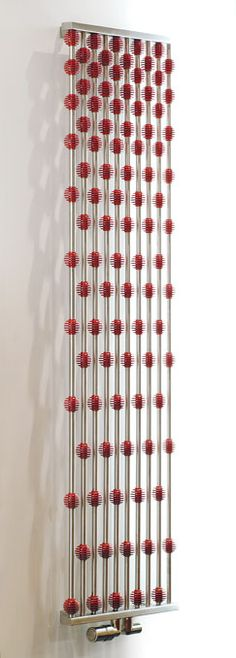 Another gorgeous radiator: Aeon Collection - Abacus heating element's 10 tubes of brushed stainless steel sport aluminum globes in one of 95 possible colors. The larger unit is 63 inches high and a mere 1½ deep. There's also a 37-inch-high model. Pitacs, 7 Grovebury Road, Units 7&8, Leighton Buzzard, Bedfordshire LU7 4SR, U.K.; 44-1525-379505; aeon.uk.com.