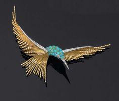 Pierre Sterlé pour Chaumet. Années 1950 Grande broche oiseau exotique en