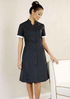 TB-DRS-5-BL New Orchid Black New Modern Maids Housekeeping Dress