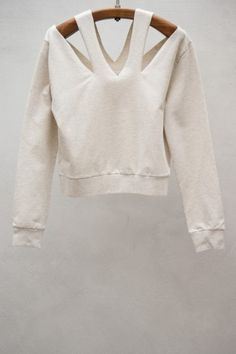Sweaters at HEIST  MM6   CUTOUT NECK SWEATER — OFF-WHITE
