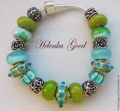 Купить Бирюза на зелени Браслет евро шарм 30 - бирюзовый, зеленый, женский браслет