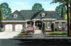 House Plan 50195 | Cottage Plan with 1823 Sq. Ft., 3 Bedrooms, 2 Bathrooms, 2 Car Garage