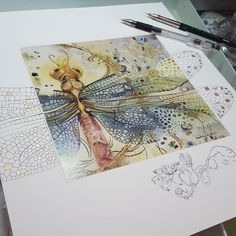 Esto es sorprendente y Brillante y hermoso! Watercolor And Ink, Watercolor Paintings, Watercolors, Illustrations, Illustration Art, Dragonfly Art, Dragonfly Drawing, Insect Art, Wow Art