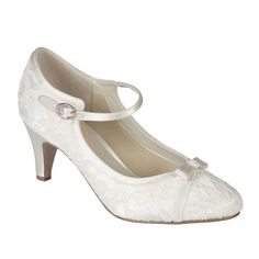 The vintage inspired Ivory satin & lace 'Cupcake' is an elegant mid heel mary jane with cute bow detailing, set off by luxurious lace. Special memory foam padding and cotton lining make this style extra comfortable.