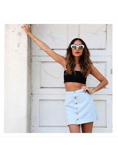 Prettiest Instagrams of the Week: Ashley Madekwe white retro sunglasses, black strapless crop top and button-front blue skirt