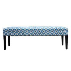 """Add a splash of artistic style to your living room, bedroom, or foyer with this eye-catching upholstered bench.    Product: BenchConstruction Material: Cotton upholstery and wood frameColor: Blue, white and espressoFeatures: Made in the USADimensions: 19"""" H x 55"""" W x 19"""" D    Shipping: This item ships small parcelExpected Arrival Date: Between 04/16/2013 and 04/24/2013Return Policy: This item is final sale and cannot be returned"""