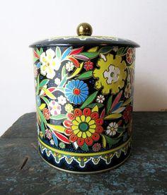 Vintage Daher Black Floral Metal Tin Made In England #daher #metalTin #collectibleTins #floralTin #madeInEngland