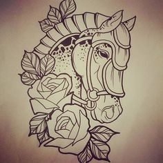 Tattoo Drawings, I Tattoo, Art Drawings, Drawing Art, Traditional Tattoo Horse, Comic Tattoo, Horse Illustration, Heart Tattoo Designs, Horse Pictures