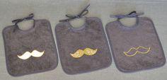 trio bavoirs moustache gris moutarde - fikOu miKou
