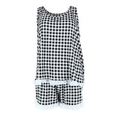 Women's Plus Size Gingham Print Tank and Short Pajama Set with Lace by PJ Couture | Plus Size Pajamas at BeltOutlet.com Plus Size Pajamas, Comfy Pajamas, Pjs, Plus Size Fashion For Women, Pajama Shorts, Pajama Set, Gingham, Autumn Fashion
