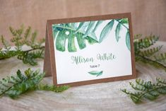 Botanical Wedding Place Card Leafs Place Cards by PaperStudioByC