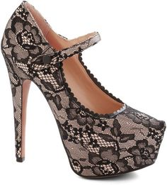 Betsey Johnson Black Lace To Be Seen Heel